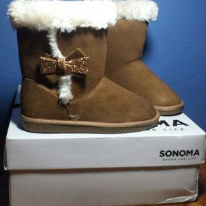Sonoma Girls Chestnut Bow Boots Sz 1